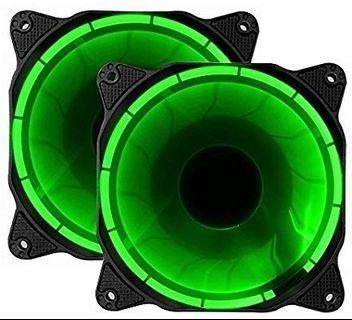 🚚 EZDIY-FAB 120mm LED Silent Fan for PC, Case Coolers, and Radiators Ultra Quiet High Airflow Computer Case Fan, 2 Pack-GREEN