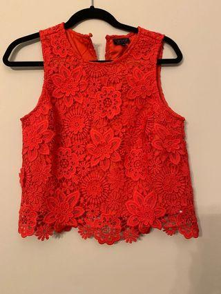 Brand new Topshop red lace singlet UK 10
