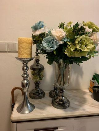 🚚 Free Candle Stand vase artificial flowers