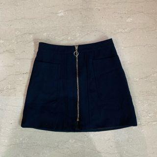 Navy blue zip up skirt