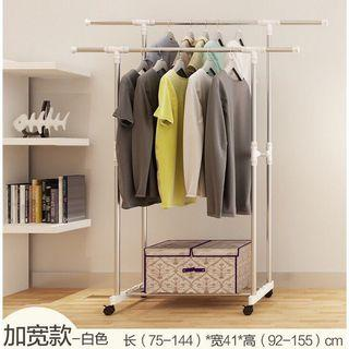Free delivery adjustable double pole clothes rack hanger