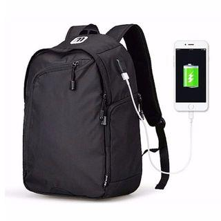 USB Black Travel Laptop Backpack/ Haversack - With External Charging Outlet! - New!