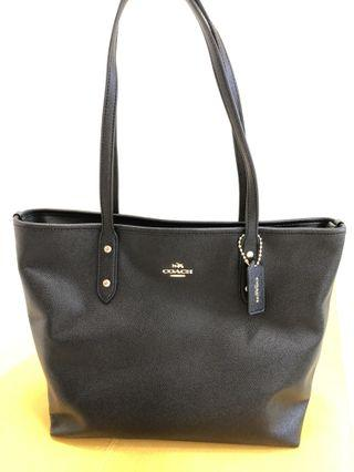 Black leather Coach Bag Serial No. K1722-F58846