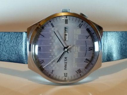 俄羅斯 ~火箭牌 (萬年曆)手動上鍊機械錶 ,連冠的約41mm ,行走正常,乾淨靚仔。 請細閱以下品牌故事 :-Ref: hom