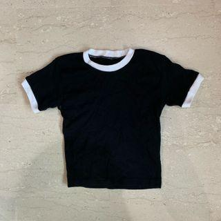Black ringer tee crop top