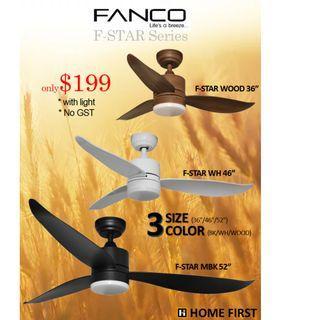 """Best Deal ~ DC Fanco Ceiling Fan ~ F-Star model 36"""" 46"""" 52"""""""