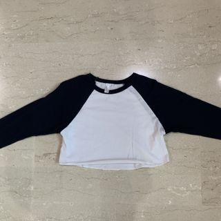 Raglan crop TOP navy blue