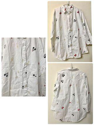 🐰出清🐰米奇 米妮 米老鼠滿版襯衫 罩衫 (現貨)