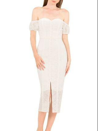 Doublewoot White Lace Off Shoulder Dress