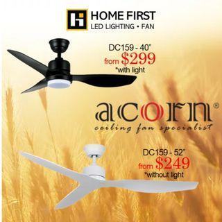Acorn DC Ceiling Fan ~ From $249 onward, Ready Stock.