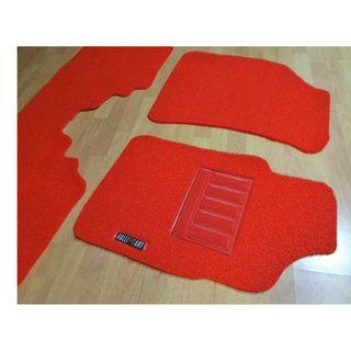RED ON RED MITSUBISHI LANCER GLX CS3 OEM FITMENT CAR FLOOR MATS. PVC CARPET MAT RALLIART LOGO FRONT 2PCS AND REAR O1 FULL PCS