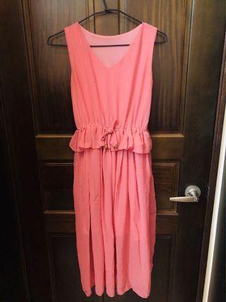 🚚 粉色塑腰長裙