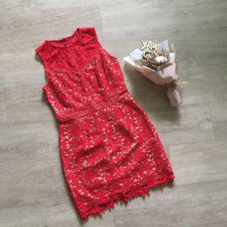 FLASH SALE: Zalora Red Overlay Dress