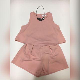🆕全新韓國粉紅色寬鬆背心濶腿短褲套裝