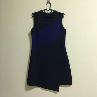 Zalora Black Shift Dress with Navy Color Block