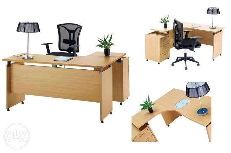 Beech L Shaped Managerial Office Desk