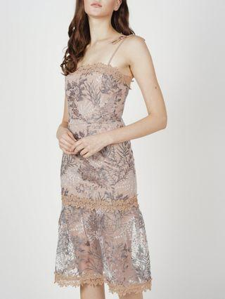 Midi Lace Dress In Taupe