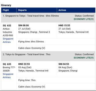 SQ Flight tickets to Tokyo (27 Jul - 3/4 Aug)