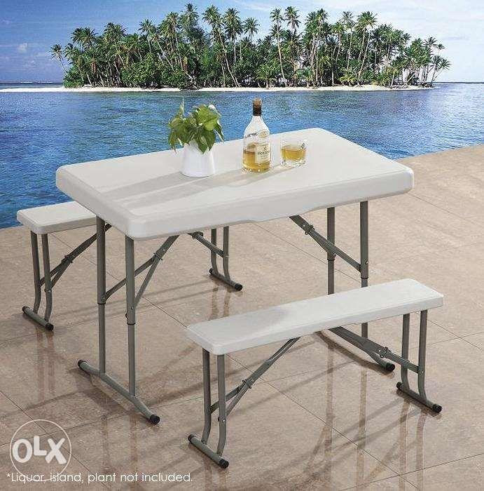 Picnic Table With 2 Benches Folding Table And Folding Chair Bar Stool Home Furniture Home Tools And Accessories On Carousell
