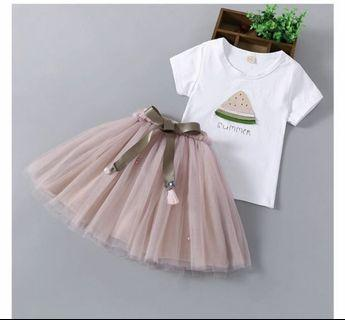 Girl Set Shirt with Tutu Skirt Set