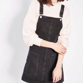 TopShop黑色丹寧口袋吊帶裙