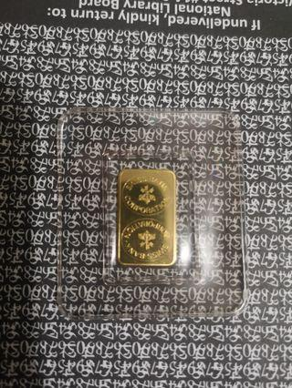 Swiss Bank 999.9 gold bar 5g