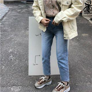 🚚 轉賣Nuhi 四月連線正韓刷色直筒牛仔褲