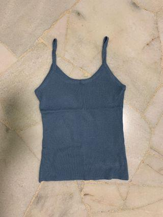 sky blue knitted ribbed sexy camisole tank top spaghetti strap halter