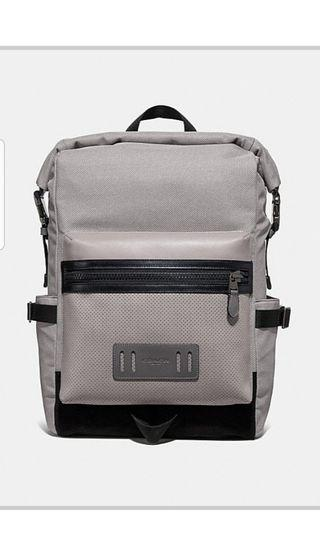 Brand New Coach Terrain Top Backpack in Grey Leather and Nylon