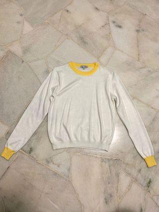 🚚 yellow white ringer long sleeve pullover sweater hoodie tumblr basic cute