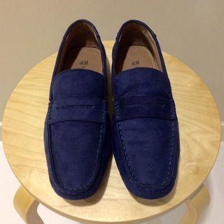 Cheap! H&M Casual Dark Blue Suede Slip-On Shoes (Size: EU 43)