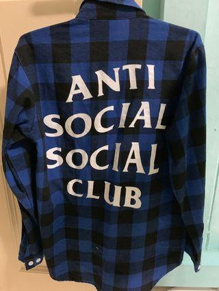 Anti social social club Flannel shirt(Blue)