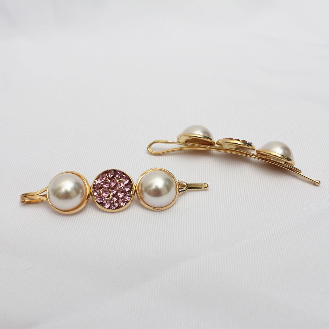 (全新)華麗珍珠水鑽髮夾