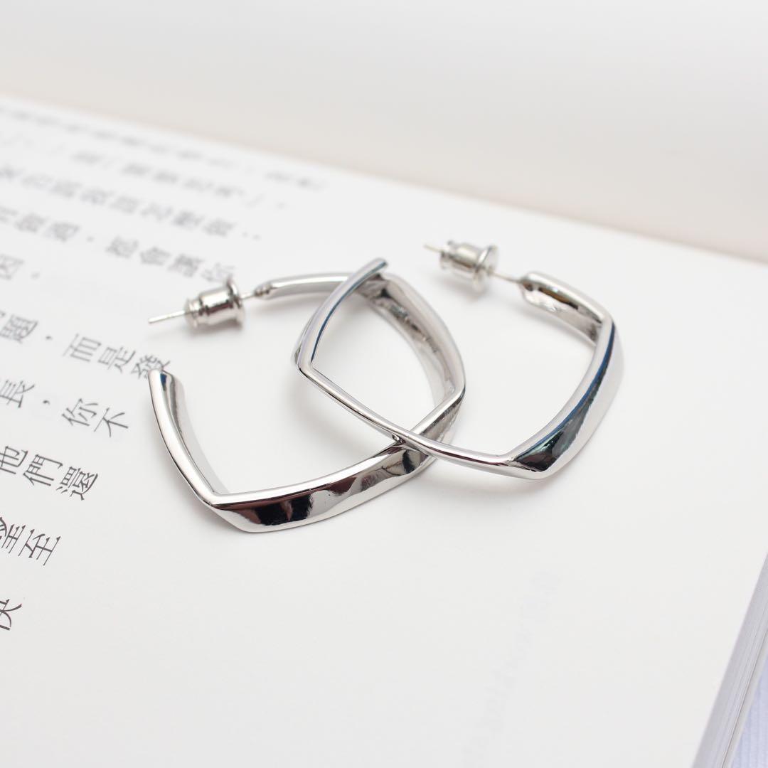 (全新)方形折線耳環 925純銀