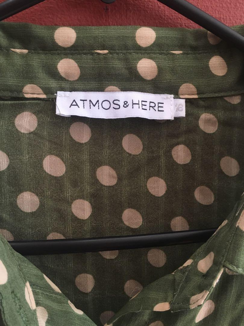 Atmos&Here chiffon button blouse with frill sleeve