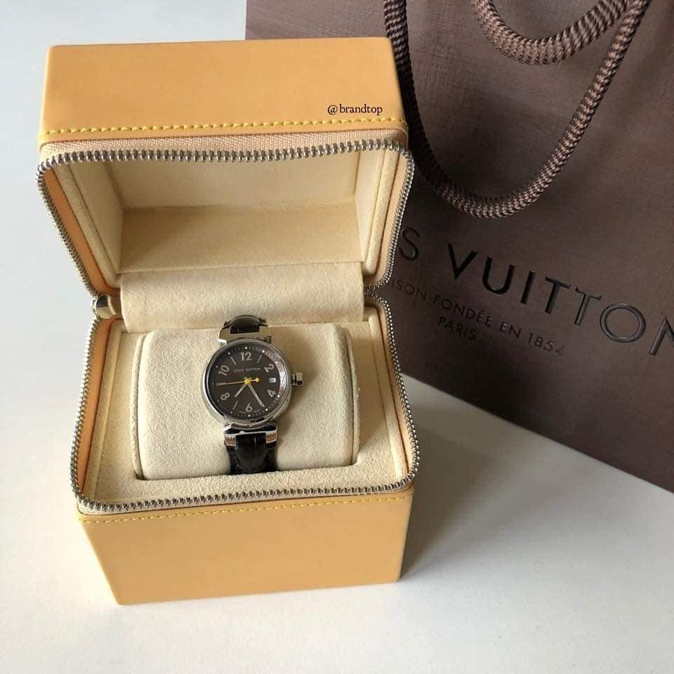 Authentic Louis Vuitton Tambour Brun 28 Alligator Leather Strap LV