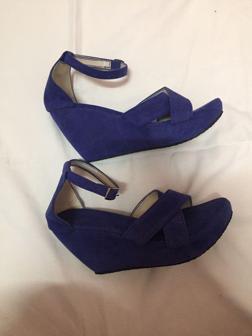 Blue suede  wedge