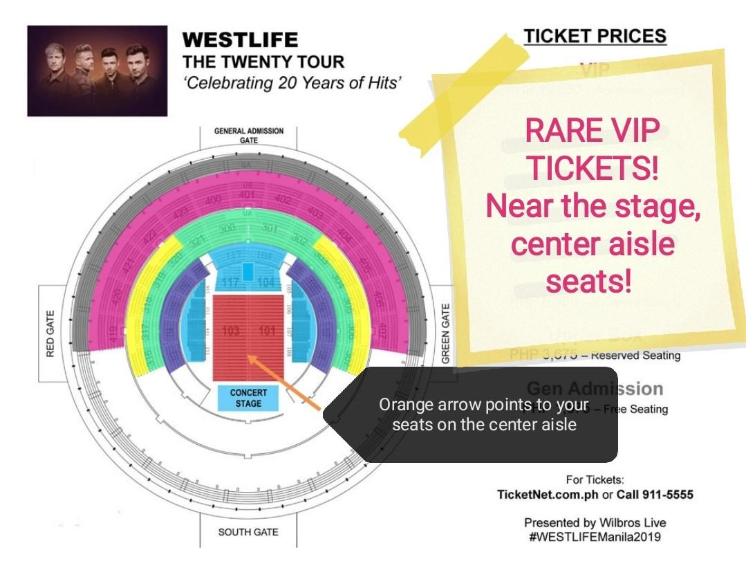 Discounted VIP near stage Westlife Concert Tickets on Carousell