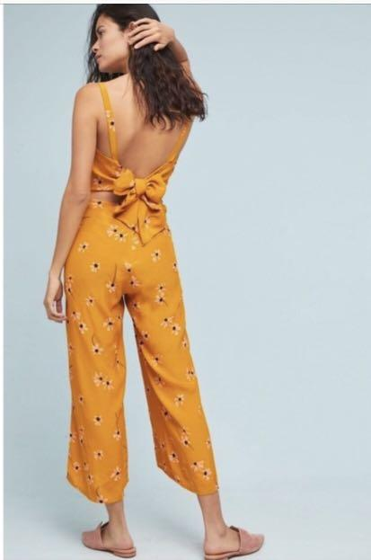 Faithfull the Brand Playa wide leg jumpsuit - Yellow floral - Size 4