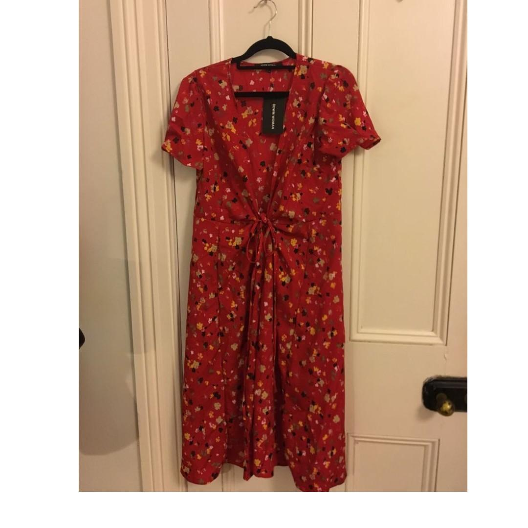 Floral Red Dress (size 10)