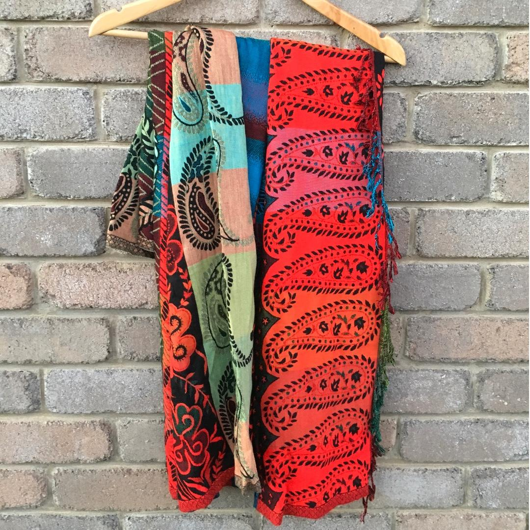 FREE POST Tree Of Life Scarf Pashmina Wrap Floral Print Red Blue