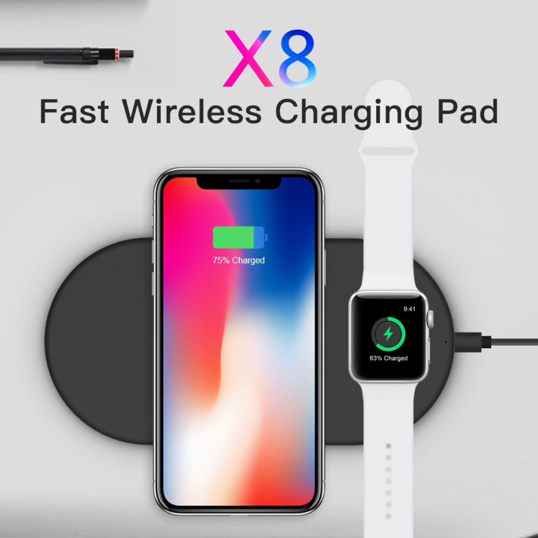 buy popular 1f2b1 fcee2 Funxim Fast Wireless Charging Pad Qi Standard for iPhone 8 iPhone 8 Plus  iPhone X and Apple Watch Compatible with Any Qi Mobile Device (Black)