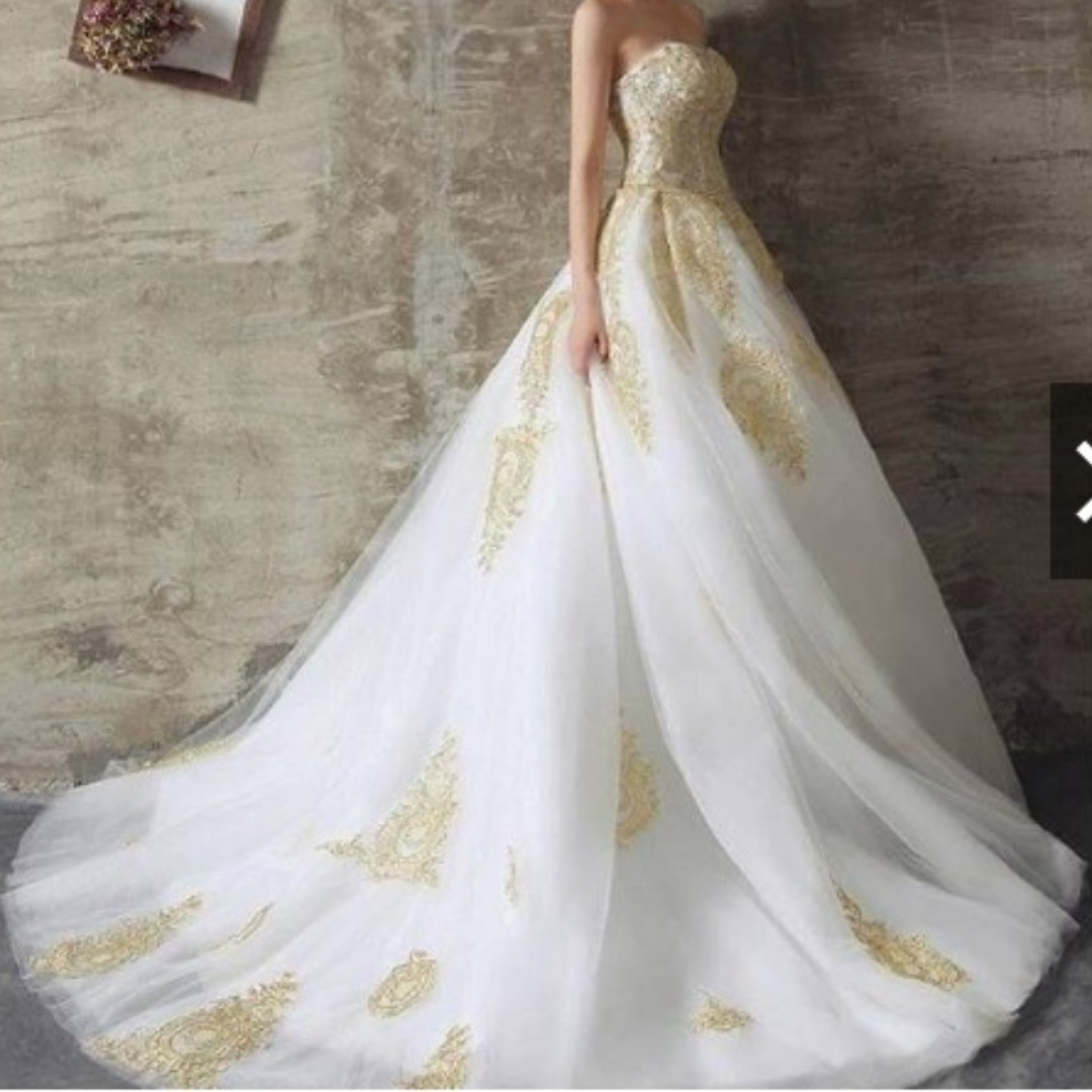 Gaun pengantin putih gold -prewedding import -Wedding dress -bridal -  pernikahan - baju pengantin