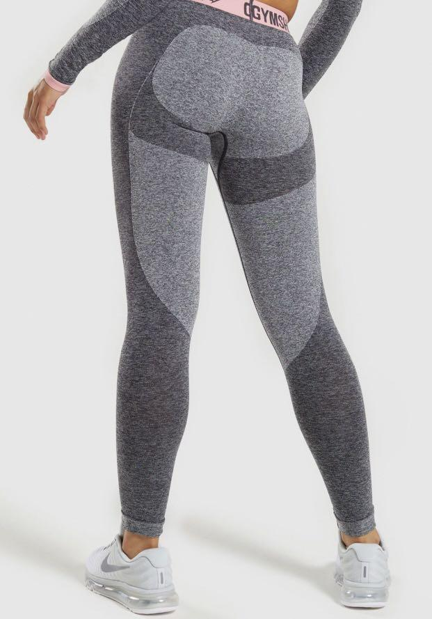 Gymshark Flex Charcoal Marl/ Pink Leggings Tights S RRP $56Aud