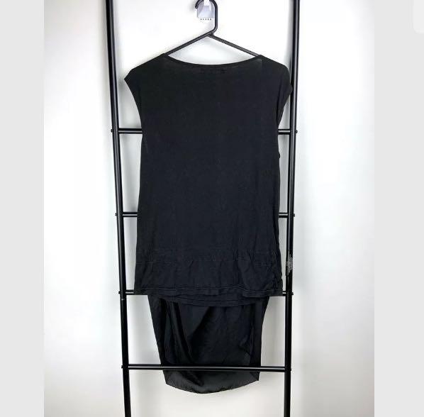 Initial sz S/M black basic tank top shirt blouse hi lo minimalist casual