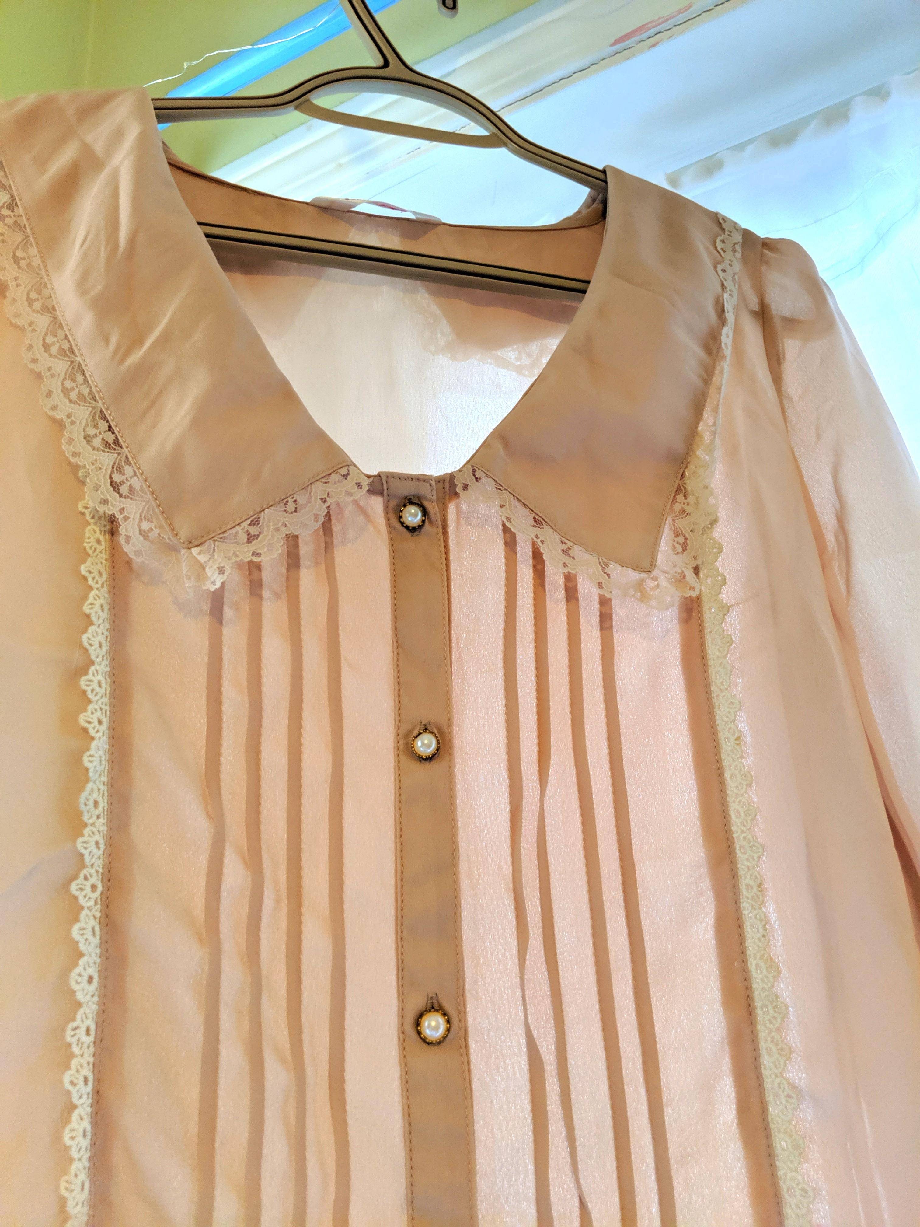 Japanese dusty rose chiffon button up collar top #swapCA