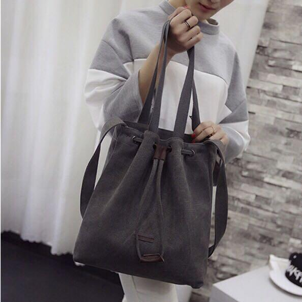 Korea Canvas Tote Shoulder Bucket bag best seller import quality tas serut