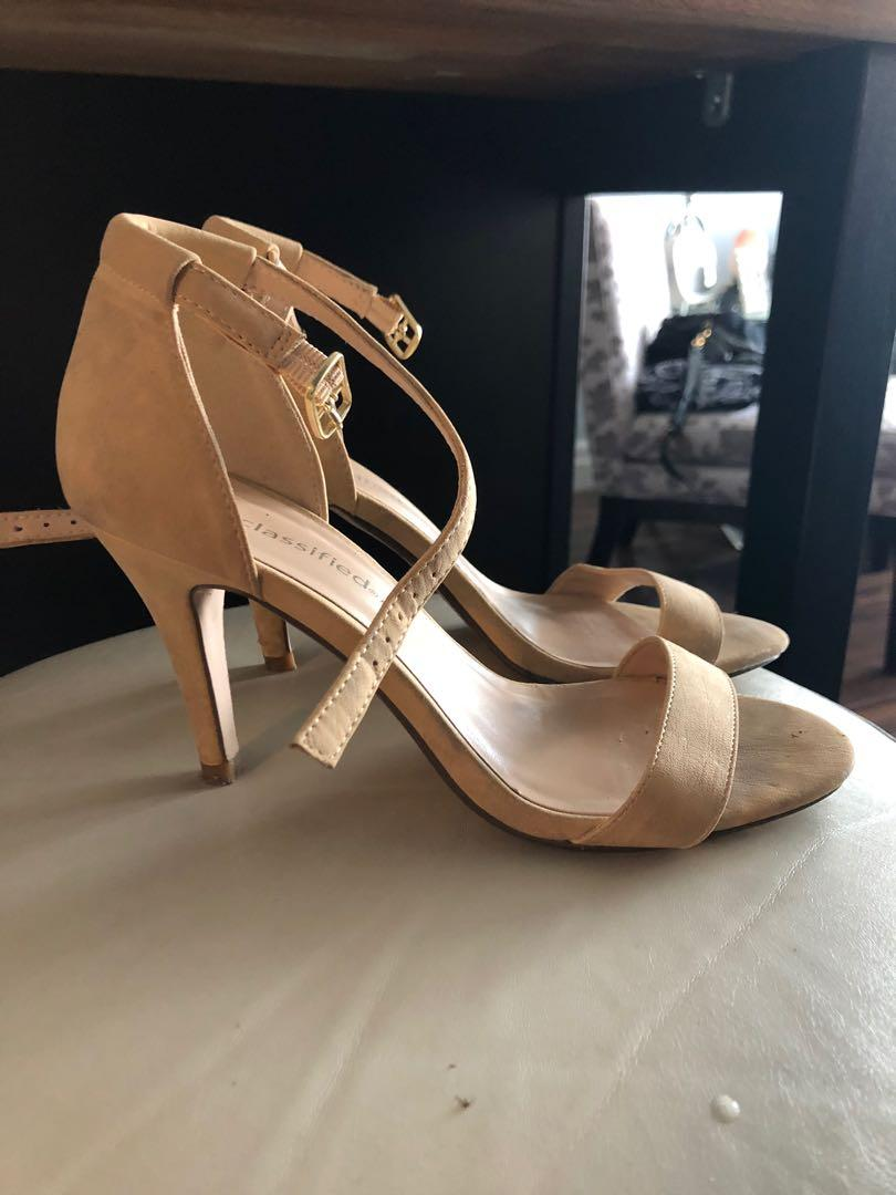 Like new nude strappy sandals heels perfect for weddings