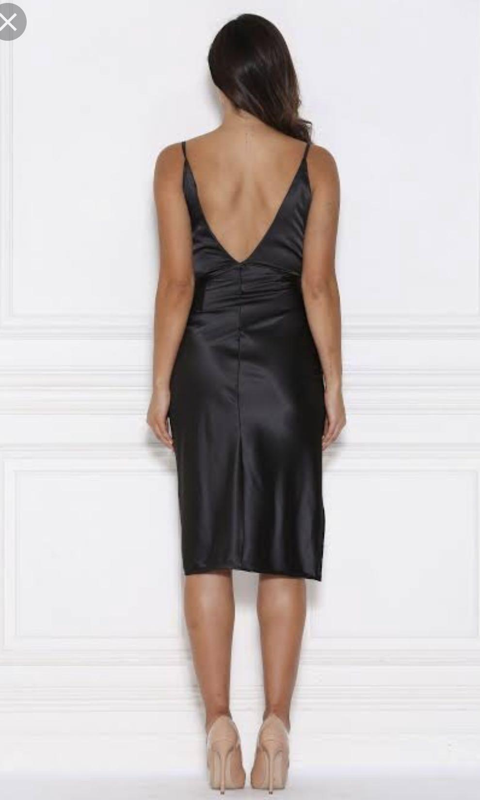 MESHKI Sasha Satin Wrap Dress Black