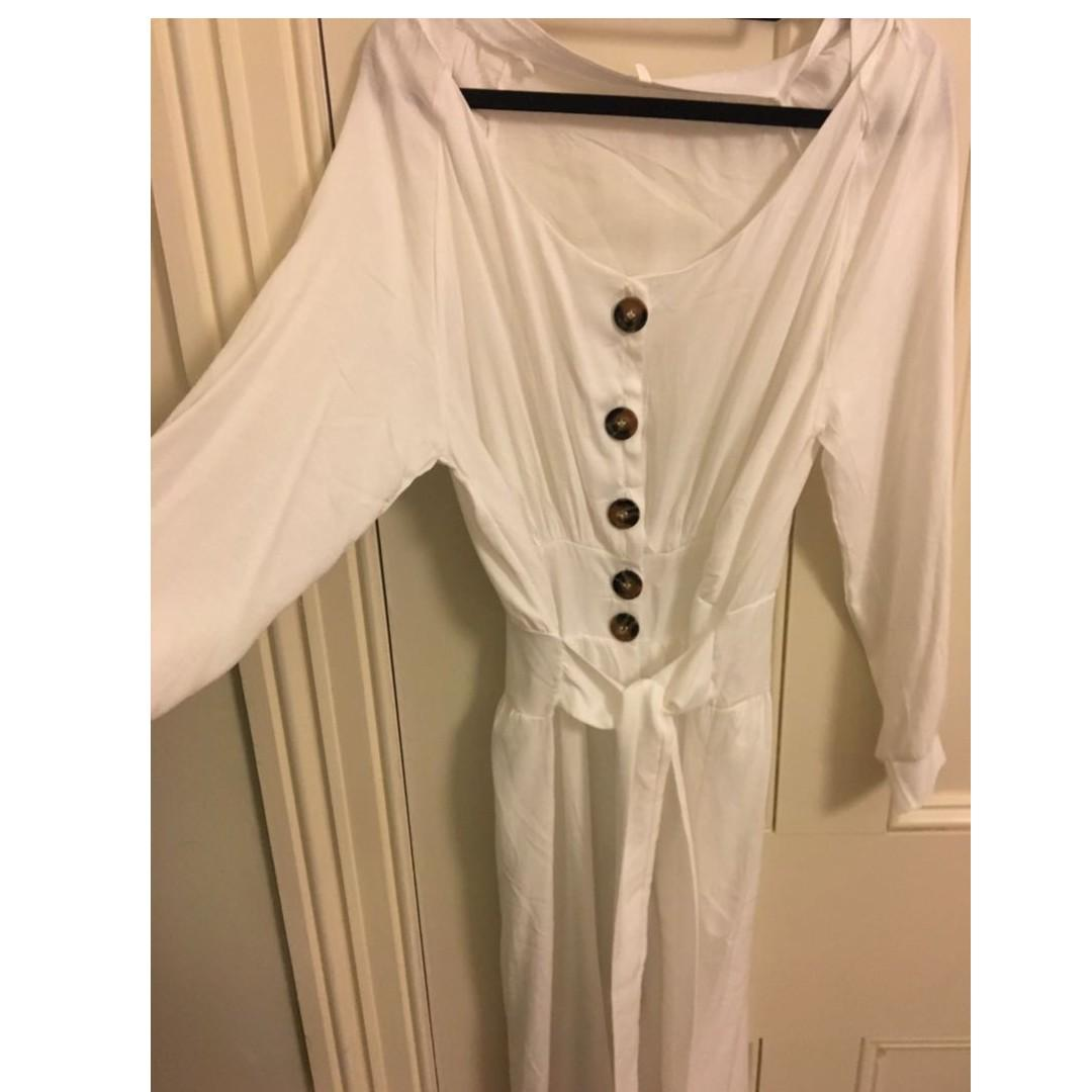 Midi Dress V-neck white (Size 10/12)